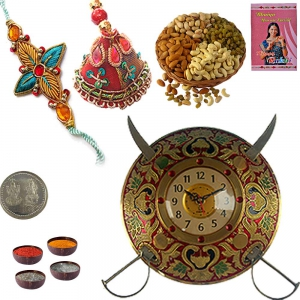 Sword Armour Wall Clock n Bhaiya Bhabhi Rakhi 130