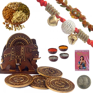 Wooden Tea Coaster Handicraft n Traditional Rakhi 131