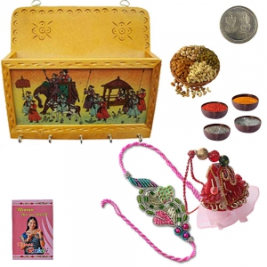 Key-Magazine Holder n Bhaiya Bhabhi Rakhi Gift 103A