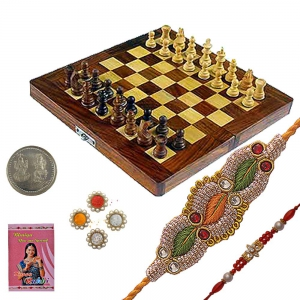 Rajasthani Wooden Chess n Exclusive Rakhi Gift 115A