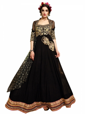 Shonaya Anarkali Black Designer Embroidered Georgette Semi Stiched Salwar Suit SJARA-2007