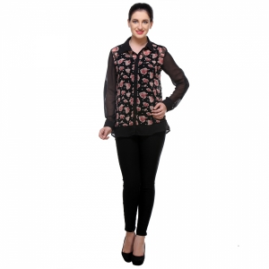Varanga Rose Balck With Print Shirt KFAWWL1007