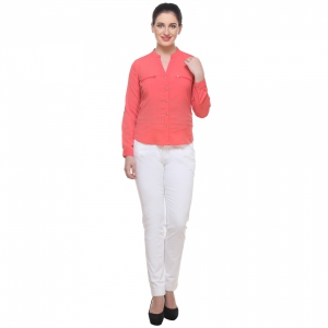 Varanga Solid Coral Pink Shirt With Zipper Pocket KFAWWL1012