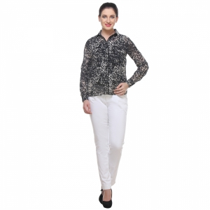 Varanga Solid Blackandwhite Shirt With Zipper Pocket KFAWWL1014