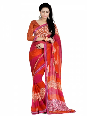 Varanga Orange And Pink Georgette Lace Border Casual Saree with Unstitched Blouse KFRNS1210