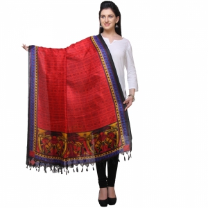 Varanga Red And Multicolor Designer Dupatta KFBG122