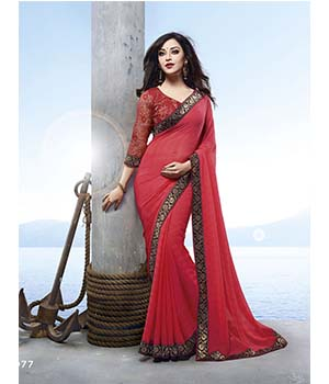 Craftliva Stylish Designer Red Heavy Embellished Saree 112CDS4977