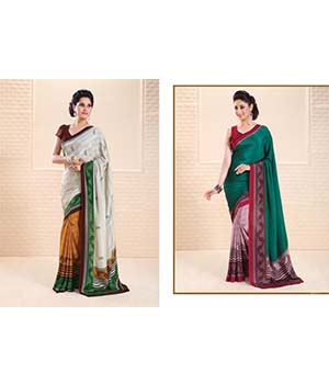 Craftliva Fabulous Designer Combo White And Green Saree 114CDS1132-1131