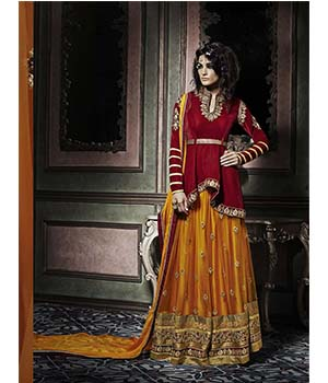 Craftliva New Stylish And Attractive Yellow And Red Indo Western Style Suit 165CAS2001