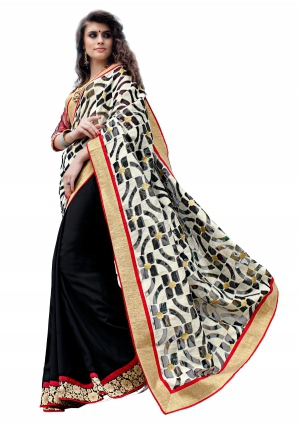 7 Colors Lifestyle Black Coloured Cotton Jacquard And Georgette Embroidered Saree AFHSR1369HRT8