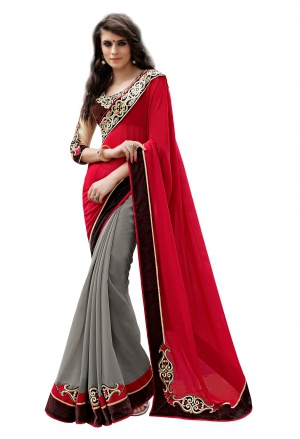 7 Colors Lifestyle Red And Grey Coloured Georgette Embroidered Saree AFHSR1374HRT8