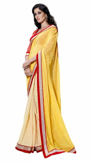 7 Colors Lifestyle Yellow And Offwhite Coloured Chiffon And Jacquard Embroidered Saree AFHSR1375HRT8