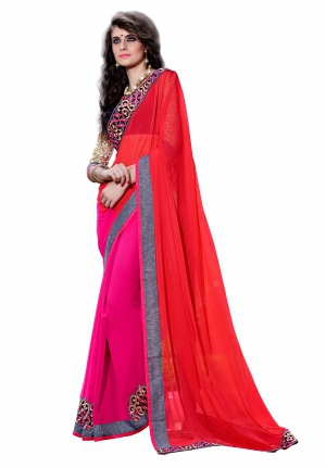 7 Colors Lifestyle Pink Coloured Georgette Embroidered Saree AFHSR1379HRT8