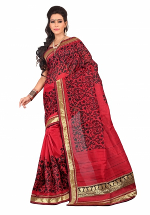 7 Colors Lifestyle Red And Black Coloured Bhagalpuri Embroidered Saree AFISR2434MBI2