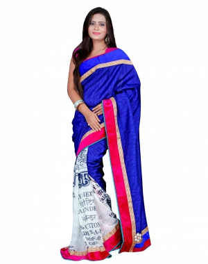 7 Colors Lifestyle Blue And White Coloured Bhagalpuri And Georgette Embroidered Saree AFJSR1401FNMA
