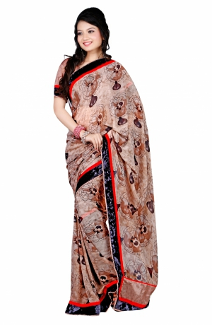 7 Colors Lifestyle Light Brown Coloured Georgette Embroidered Saree AFJSR1406FNMA