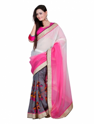 7 Colors Lifestyle Pink And Grey Coloured Bhagalpuri And Georgette Embroidered Saree AFJSR1415FNMA