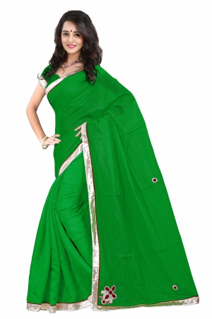7 Colors Lifestyle Green Coloured Super Net Embroidered Saree AFKSR1004ALYM