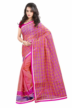 7 Colors Lifestyle Purple And Yellow Coloured Super Net Embroidered Saree AFKSR1015ALYM