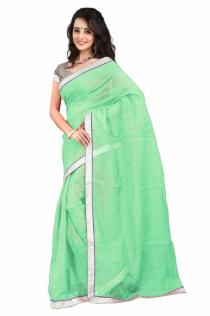 7 Colors Lifestyle Green Coloured Super Net Embroidered Saree AFKSR1021ALYM