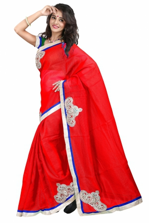 7 Colors Lifestyle Red Coloured Super Net Embroidered Saree AFKSR103AALYM