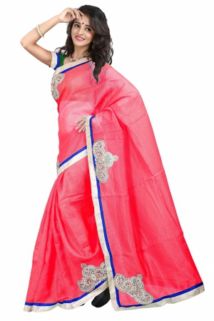 7 Colors Lifestyle Pink Coloured Super Net Embroidered Saree AFKSR103BALYM
