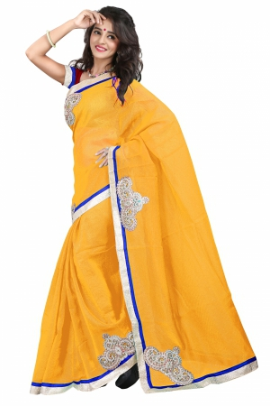 7 Colors Lifestyle Yellow Coloured Super Net Embroidered Saree AFKSR103GALYM