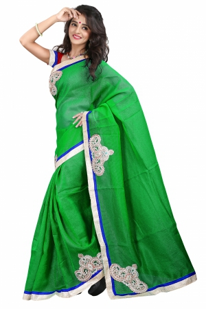 7 Colors Lifestyle Dark Green Coloured Super Net Embroidered Saree AFKSR103JALYM