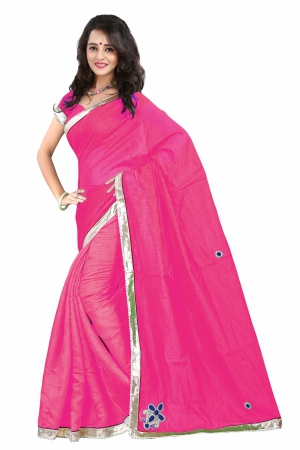 7 Colors Lifestyle Magenta Coloured Super Net And Net Jacquard Embroidered Saree AFKSR105BALYM