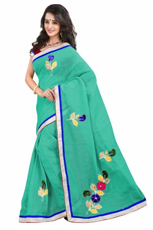 7 Colors Lifestyle Sea Green Coloured Super Net Embroidered Saree AFKSR106AALYM