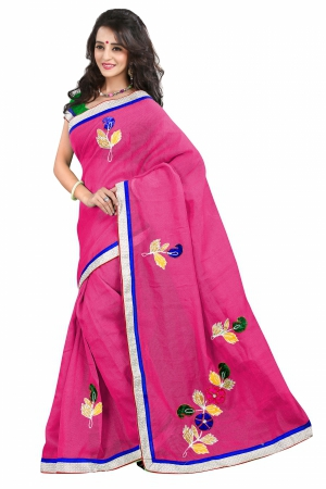 7 Colors Lifestyle Dark Pink Coloured Super Net Embroidered Saree AFKSR106IALYM