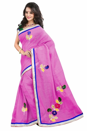 7 Colors Lifestyle Pink Coloured Super Net Embroidered Saree AFKSR106LALYM