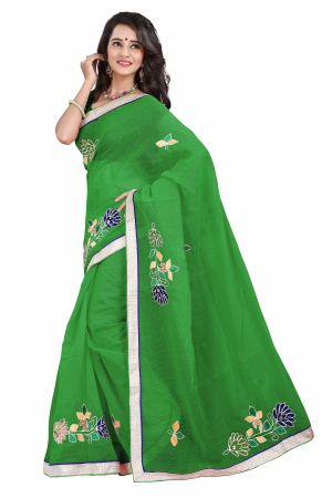 7 Colors Lifestyle Dark Green Coloured Super Net Embroidered Saree AFKSR111AALYM