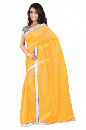 7 Colors Lifestyle Yellow Coloured Super Net Embroidered Saree AFKSR112KALYM