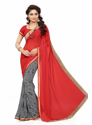 7 Colors Lifestyle Red Coloured Faux Georgette Embroidered And Printed Saree AFKSR1147SRST