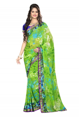 7 Colors Lifestyle Green Coloured Faux Georgette Printed Saree AFLSR549BSUB2