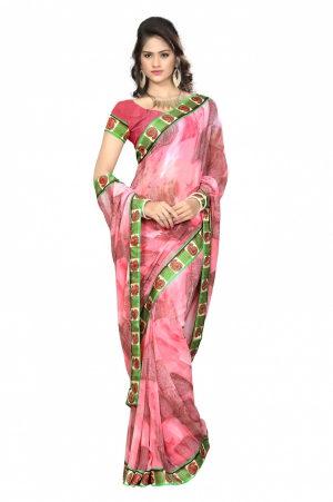 7 Colors Lifestyle Pink Coloured Faux Georgette Printed Saree AFLSR550ASUB2
