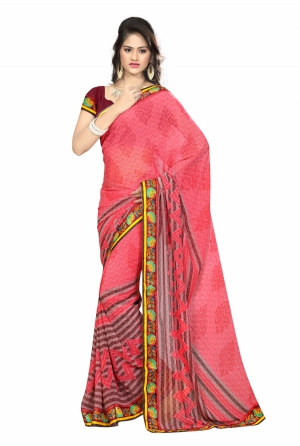 7 Colors Lifestyle Pink Coloured Faux Georgette Printed Saree AFLSR557ASUB2
