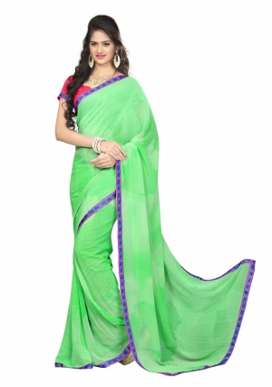 7 Colors Lifestyle Light Green Coloured Faux Georgette Printed Saree AFLSR559ASUB2