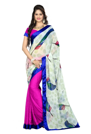 7 Colors Lifestyle Multi Coloured Faux Georgette Printed Saree AFLSR561ASUB2