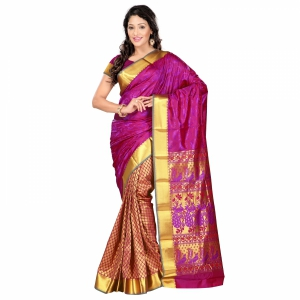 7 Colors Lifestyle Violet And Red Coloured Pure Polyster Jacquard Embroidered Saree SR1101VRDJD1