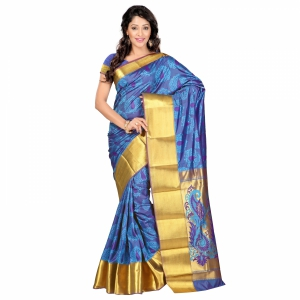 7 Colors Lifestyle Multi Coloured Pure Polyster Jacquard Embroidered Saree SR7101ADVJD2