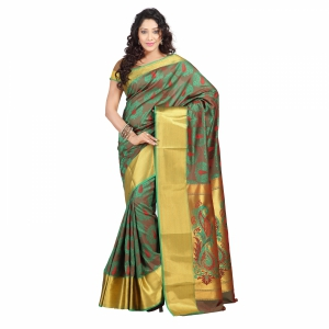 7 Colors Lifestyle Multi Coloured Pure Polyster Jacquard Embroidered Saree SR7101PGRDJD2
