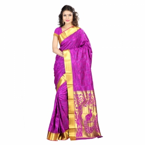 7 Colors Lifestyle Multi Coloured Pure Polyster Jacquard Embroidered Saree SR7102PVJD3