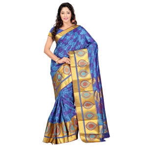 7 Colors Lifestyle Multi Coloured Pure Polyster Jacquard Embroidered Saree SR7103ADVJD2