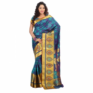 7 Colors Lifestyle Multi Coloured Pure Polyster Jacquard Embroidered Saree SR7103RMVJD2