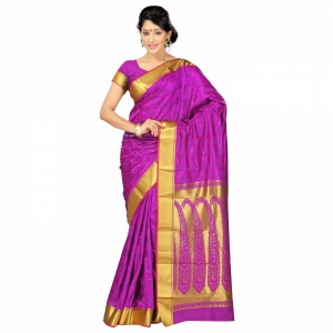7 Colors Lifestyle Multi Coloured Pure Polyster Jacquard Embroidered Saree SR8103PVJD4