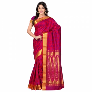 7 Colors Lifestyle Multi Coloured Pure Polyster Jacquard Embroidered Saree SR8103RDVJD4