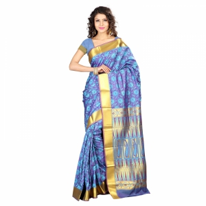 7 Colors Lifestyle Multi Coloured Pure Polyster Jacquard Embroidered Saree SR8109ADVJD4