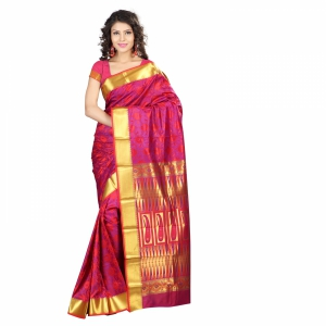 7 Colors Lifestyle Multi Coloured Pure Polyster Jacquard Embroidered Saree SR8109RDVJD4